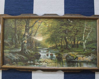 Vintage Wooden Framed Enchanted Forest Stream Scene Wall Hanging 1950s