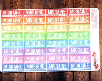 Migraine Tracker Planner Stickers, for use in Erin Condren Planners, Stickers, Happy Planner Stickers, Erin Condren, Pain Tracker, B025
