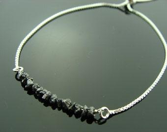 Genuine Black Raw Rough Uncut Diamond Sterling Silver Adjustable Tassel Bracelet