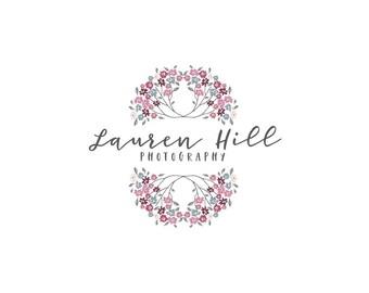 Premade flower logo, Custom logo design, Wreath flower logo, Handwriting logo, Floral wreath logo, Typography logo, Premade logo design pl17
