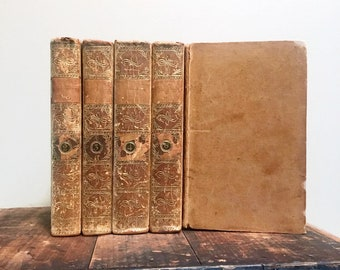 The Annual Register for the Years 1759 to 1765, Rare Antique Book Set, Set of Five (5) Leather Bound Books, 18th Century Books