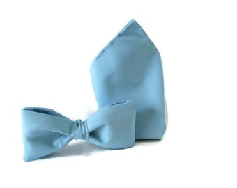Pastel Blue Wedding Set , Bow Tie and Pocket Square , Handkerchief , Groomsmen Gift , Mens Wedding Accessories