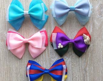 Disney Princess Hair Bows, Sleeping Beauty hairbow, Snow White hair bow, Little Mermaid bow, Ariel hair bow, Elsa hair bow, Cinderella bow