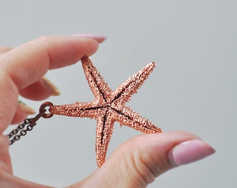 Electroformed starfish pendant, nautical jewelry, mermeids necklace, copper electroform, ocean jewelry, sea necklace, gift for him
