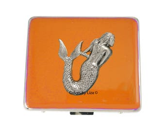 Mermaid Weekly Pill Box Hand Painted Enamel Orange Opaque Nautical Inspired with Personalized and Color Options