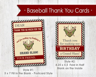 Baseball Thank You Cards- Instant Download