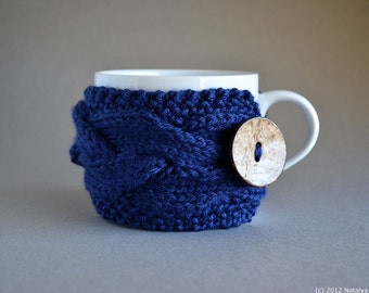 Coffee Cup Sleeve, Coffee Mug Cozy, Coffee Sleeve, Tea Cozy, Coffee Cozy, Coffee Cup Cozy, Coffee Gifts, Navy Blue, Coffee Decor