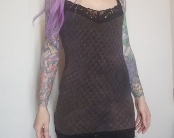 Bleached Dyed Distressed Lace Tank Small