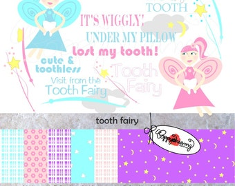 Tooth Fairy Paper and Elements SET: Digital Scrapbook Paper Pack (300 dpi) Tooth Fairy Fairie Lost Tooth Pink Blue Purple