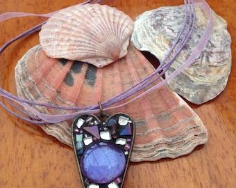 Lilac Heart Mosaic Necklace Pendant