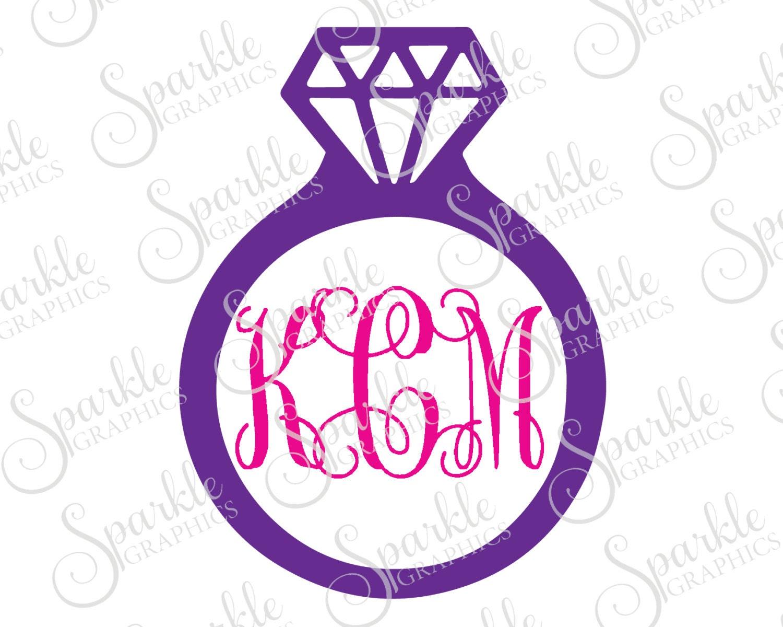 Diamante anillo monograma marco boda despedida de soltera