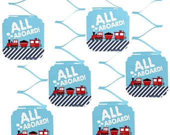 Railroad Party Crossing Hanging Decorations - Steam Train Baby Shower or Birthday Party Hanging Decorations - Choo choo Train Party - 6 Ct