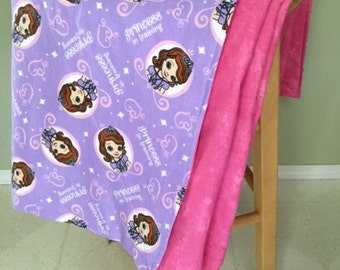 Large Blanket, Sofia the First (Adult or Child) - Flannel & Cotton Fabric - Price James, Miranda, King Roland, Cinderella, Princess Amber