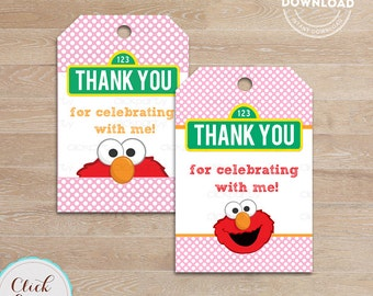 Elmo Girl favor tags, Thank you Tags, Gift Favors, Polka dots Party Decoration, Party Favors, Printable Diy, Instant downl
