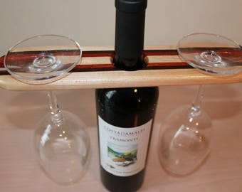Wood wine bottle and glass display holder