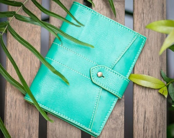 2 Passport Holder Leather Travel Wallet (Mint Green)