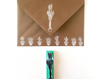 Cactus rubber stamp, hand carved, cactus plants