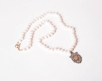 Pearls with Antique Silver Watch Fob