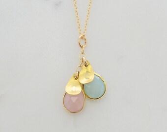 Jewelry For New Mom - Mom Necklace - Custom Initial Jewelry - Mommy Necklace - Gemstone Initial Necklace - Gemstone Charm Necklace