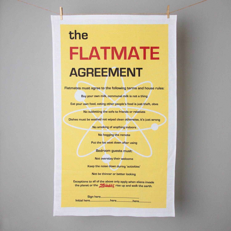 The Flatmate Agreement/Big Bang Theory Tea Towel