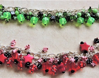 Dice & Star charm style bracelet Red Green Retro Lucky