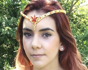 Red Gold Evenstar Circlet Crown Tiara Celtic Weave
