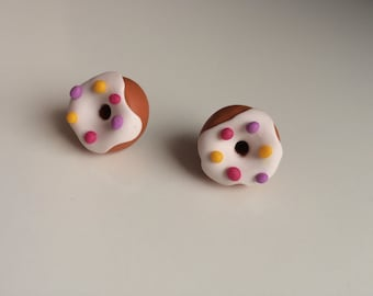 Yummy DOUGHNUT EARRINGS with Pink, Light Purple and Yellow Sprinkles