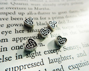 Metal Celtic Knot Heart Beads, Silver 50 Metal Heart Bead Supply, Celtic Knotwork Bead- 50