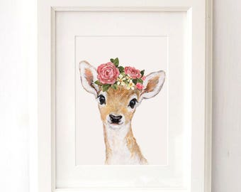 Deer Flower Crown, Deer Flower Crown Portrait, Fawn Nursery, Giclee, Woodland Animal Portrait ,Fawn animal Print, Woodland Nursery Art