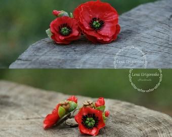poppy brooch, flower hairclip, cold porcelain, wedding stuff, groom boutonniere, poppy hair, bridesmaids hair, red headband, red flower