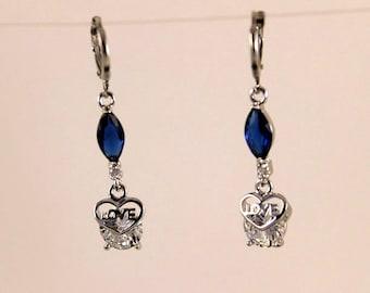 "Earrings ""Heart Love blue Sapphire Marquise"""