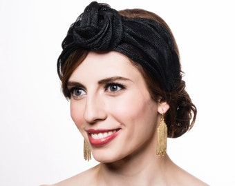 Knotted Sinamay Turban. Straw Headband. Black. Fascinator Headpiece Crown. Everyday Millinery. Gift for Her Under 100
