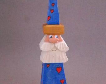 Blue Santa wood carving  #26
