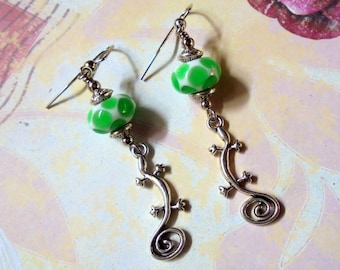 Green, White and Silver Spotted Lizard Earrings (3073)