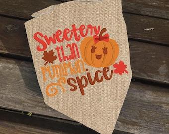 Sweeter than Pumpkin Spice Reversible Burlap Dog Bandana // Thanksgiving Pet Bandana // Fall Dog Bandana // Gotcha Day // New Puppy Gift