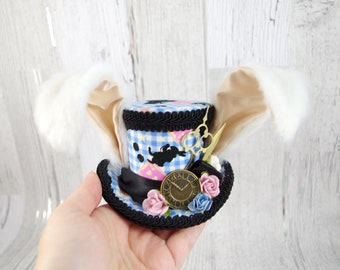 White Rabbit - Blue, Pink, White, and Black Rabbit Eared Small Mini Top Hat Fascinator, Alice in Wonderland, Mad Hatter Tea Party, Derby Hat