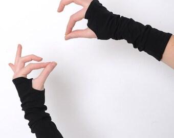 Black arm warmers ,Black fingerless gloves, Jersey fingerless gloves, Black wrist warmers, Jersey wristwarmers, fingerless armwarmers, MALAM