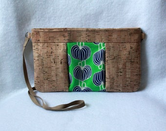 Cork Clutch with Zipper Closure - Natural Cork Bag with Amy Butler Fabric