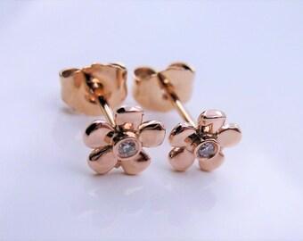 Pink 14 k Gold Flower Shape earrings And Genuine Diamonds W/ Heavy Duty pushing backs