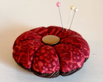 Garnet and Gold Batik Pincushion