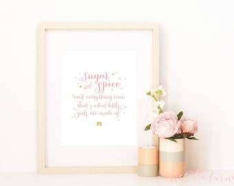 Wall Art Print | Girls | Room | Sugar and spice and everything nice that's what little girls are made of