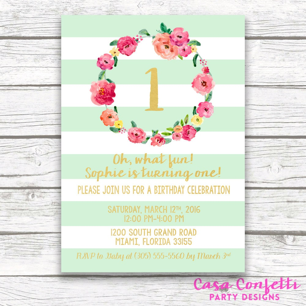 Mint Green Striped Gold Foil First Birthday Invitation, Girl One 1st ...