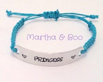 Sale item, princess bracelet, macrame jewelry, bar jewellery, customised bangle, personalised gift, gift for a child, blue bracelet, niece