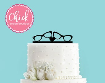 Hipster Couple Glases Wedding Cake Topper