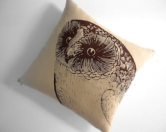 Giant Owl silk screened cotton canvas throw pillow 18 inch brown desert