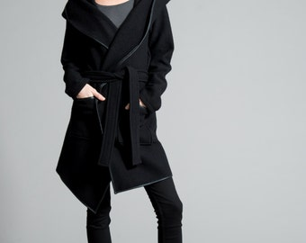 Wool Sweater Jacket / Hoodie Jacket / Asymmetrical Hoody Coat / Trench Coat / Sweater Jacket / Black Coat / Marcellamoda - MC0106