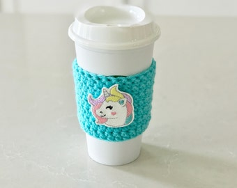 Unicorn Cup Cozy, reusable cup sleeve, coffee cup holder, iced coffee sleeve, teacher gifts, party favors, reusable coffee sleeve
