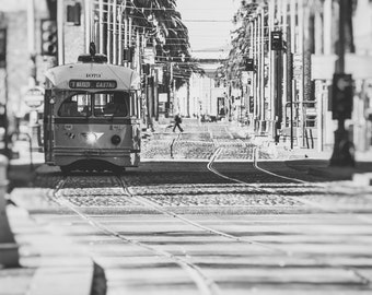San Francisco Photography, Embarcadero Street Car, Black and White Print