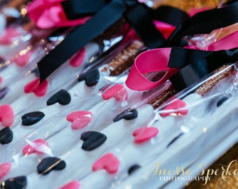 Black White and Pink Hearts Kate Spade Inspired Chocolate Covered Pretzels