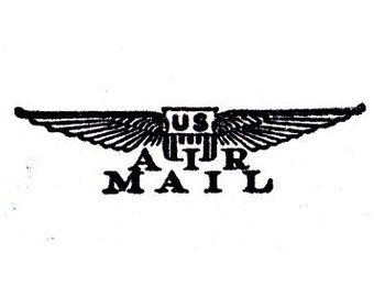 US Air Mail wings rubber stamp